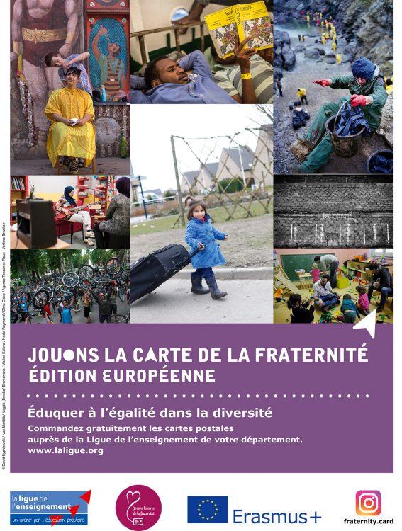 Affiche Jouons la carte de la fraternité - Edition européenne - Ligue de l'enseignement du Gers